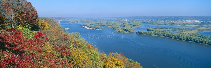 密西西比和威斯康星河的合流 免版税图库摄影