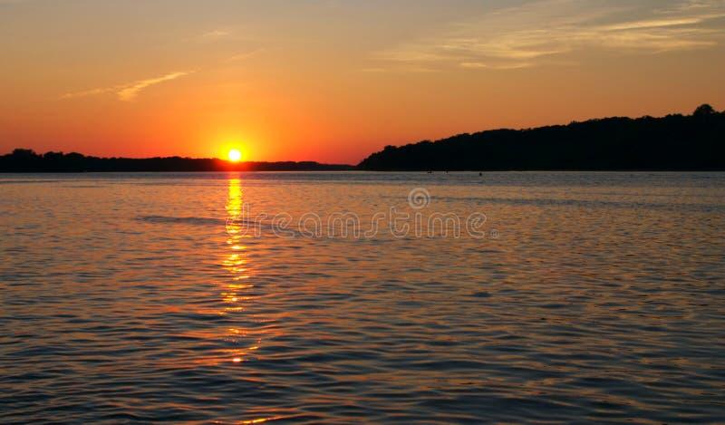密西西比河日落 免版税图库摄影