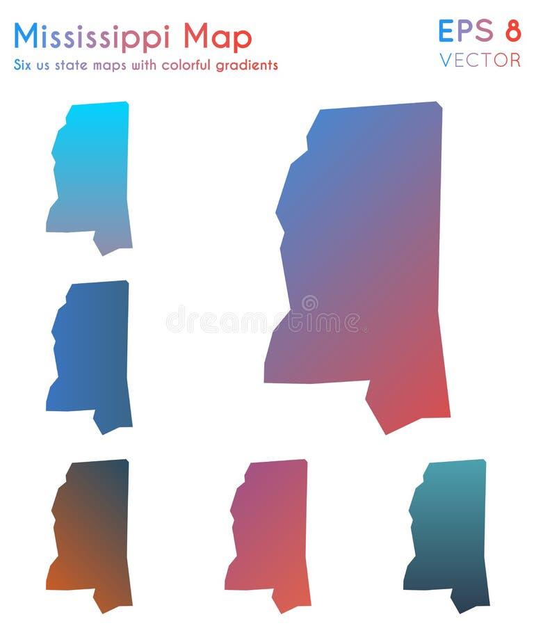 密西西比的地图有美好的梯度的 向量例证