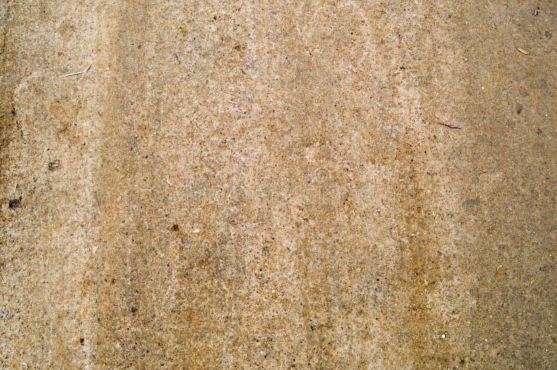 密集的被砸紧的棕色沙子,与小卵石的地球纹理在土路 图库摄影