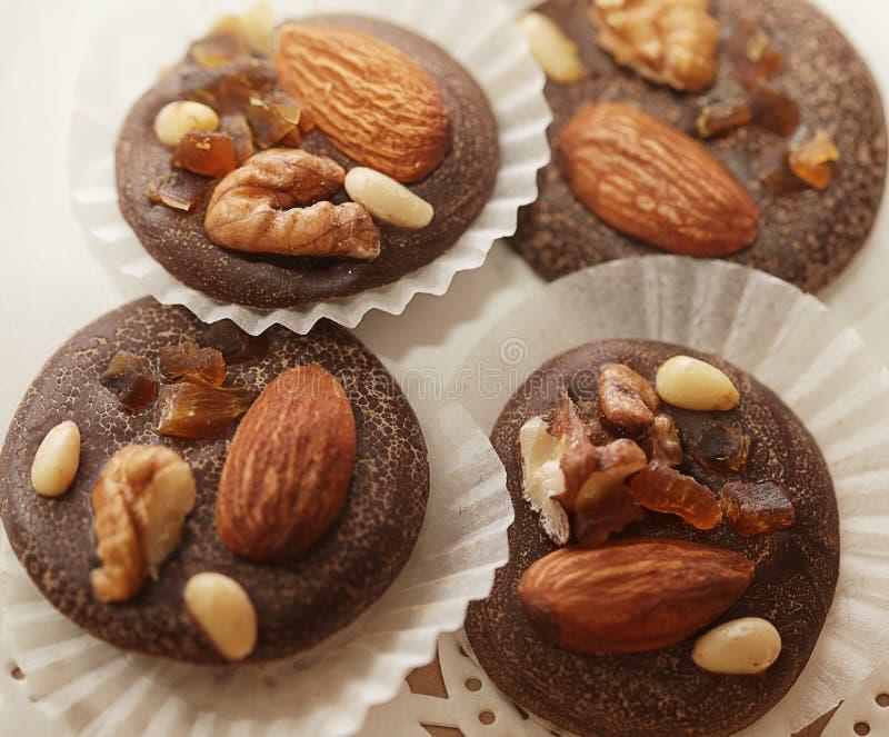 紧密chocolated甜果仁糖的变异 免版税图库摄影