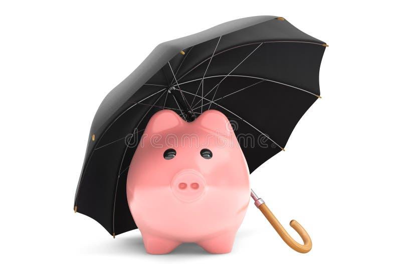 财富保护概念。存钱罐在伞下 库存例证