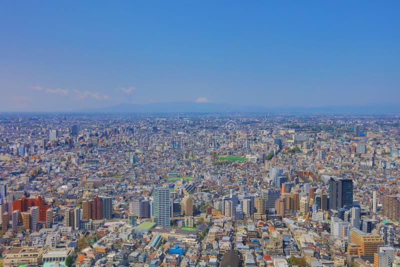 富士和东京街道平行全景 图库摄影