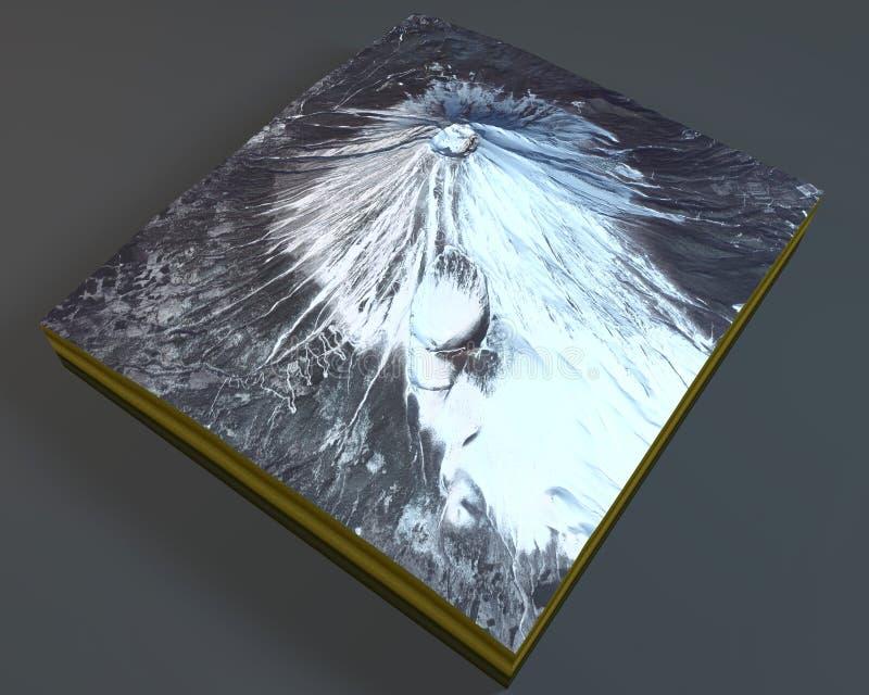 富士山,卫星看法,日本 库存例证