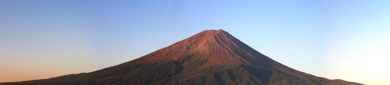 富士挂接全景日出 库存图片