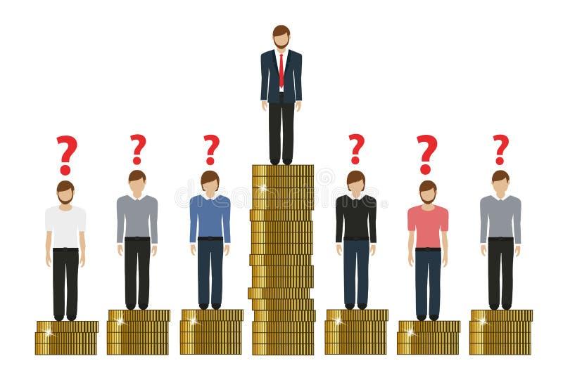 富有和恶劣的工作财务概念之间的空白与硬币 向量例证