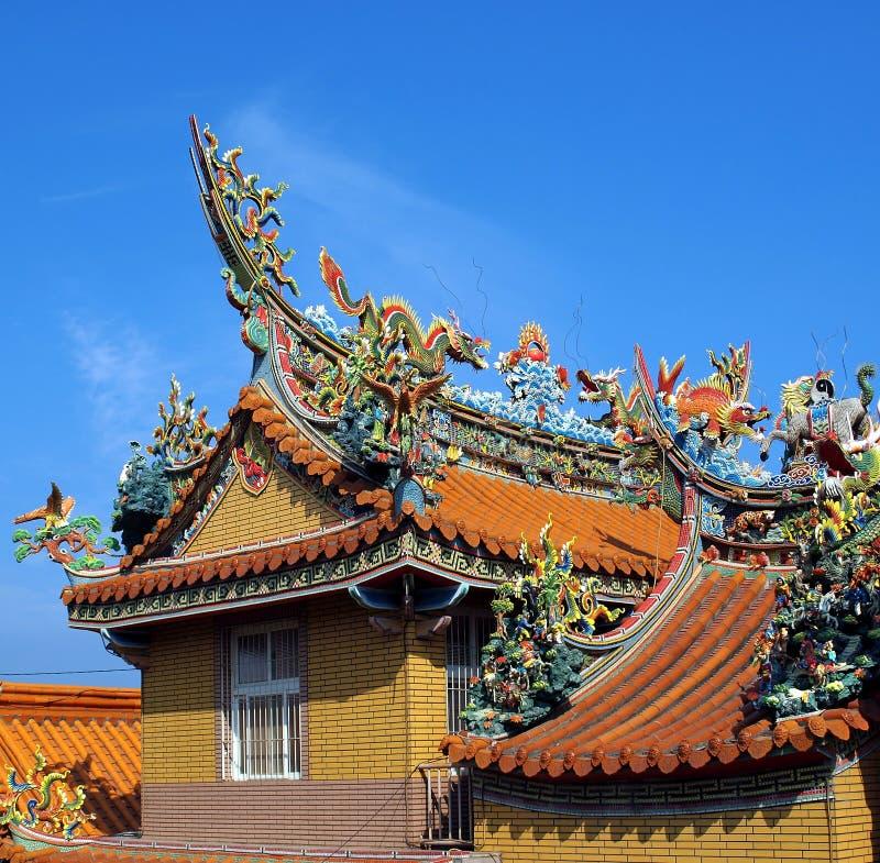 富有地装饰的中国寺庙屋顶 免版税库存图片