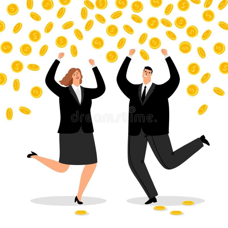 富有的企业夫妇 愉快的办公室妇女的金钱雨和商人,现金赢取的成功的传染媒介货币流量 库存例证