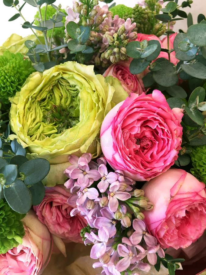 富有的束桃红色紫丁香属植物和桃红色玫瑰花,绿蔷薇和绿色叶子 新鲜的春天花束 o ?? 免版税库存照片