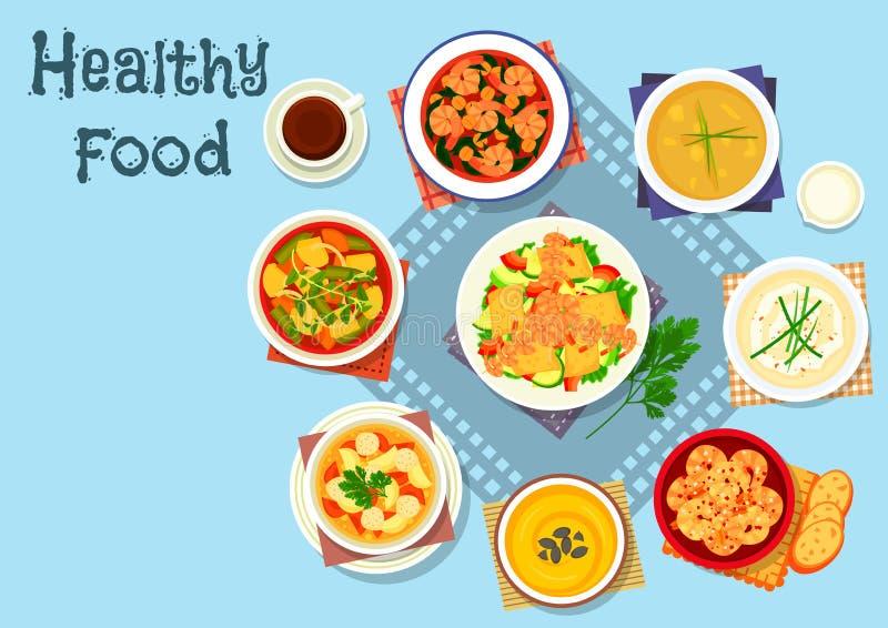 富有的汤和海鲜盘象,食物设计 皇族释放例证