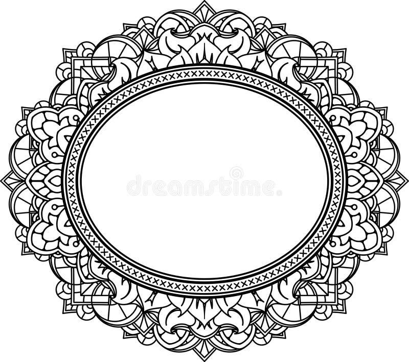 富有的装饰的卵形框架样式 背景装饰向量 向量例证