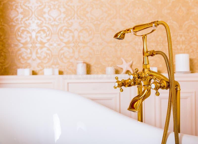 富有的金龙头和白色浴在卫生间里 图库摄影