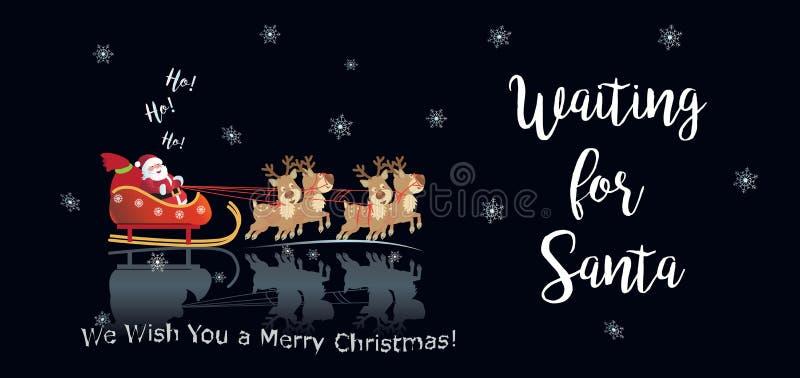 2019寒假等待圣诞老人的新年快乐圣诞装饰呵 Ho 向量例证