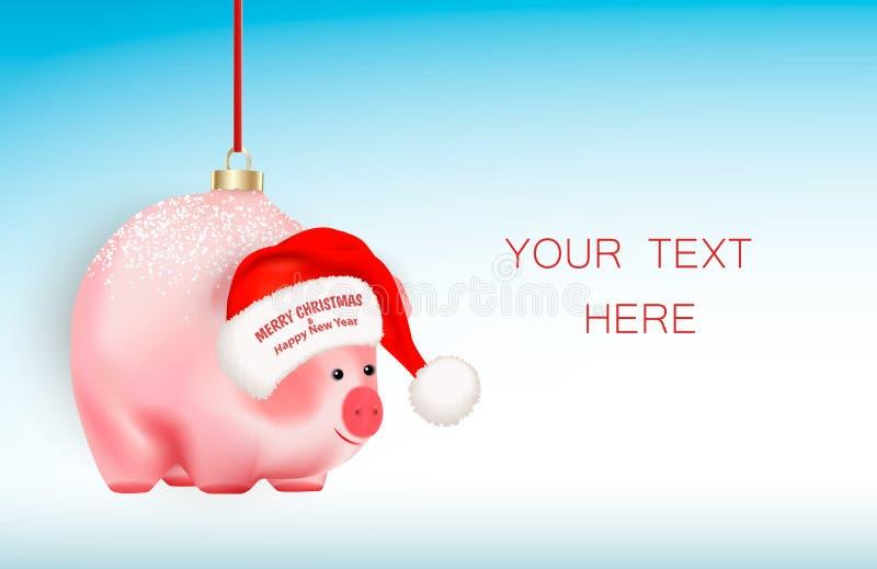 寒假装饰 现实逗人喜爱的猪在丝带的一个春节标志 有问候圣诞快乐的圣诞老人项目红色帽子 库存例证