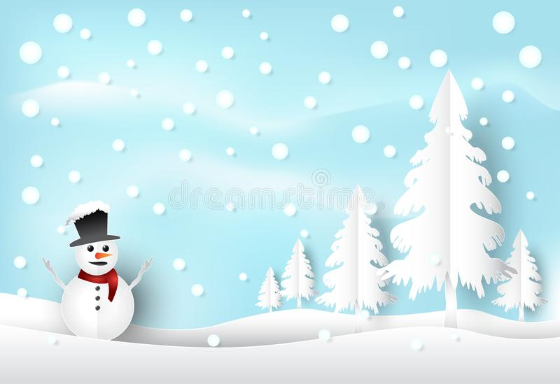 寒假雪和雪人有蓝天背景 基督 皇族释放例证