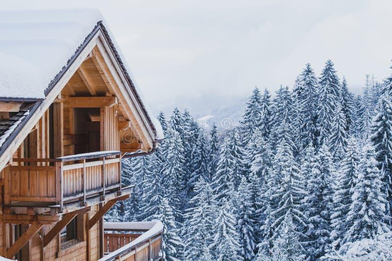 寒假,滑雪假期背景,房子 库存图片