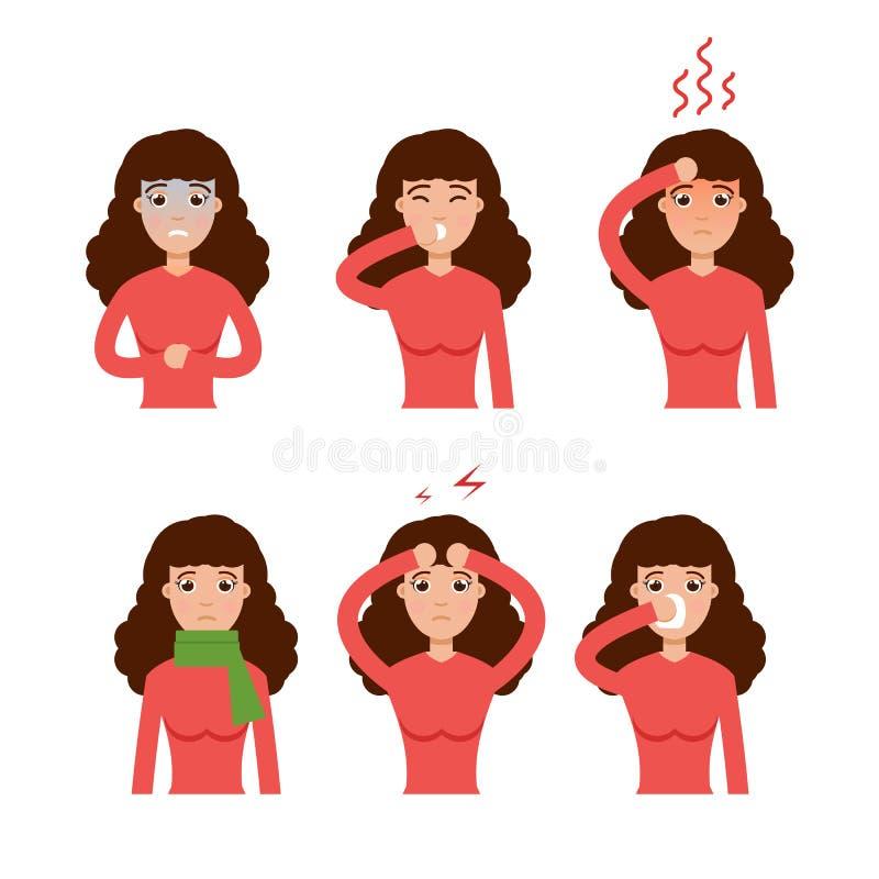寒冷、grippe、流感或者季节性流行性感冒普通的症状象 库存例证