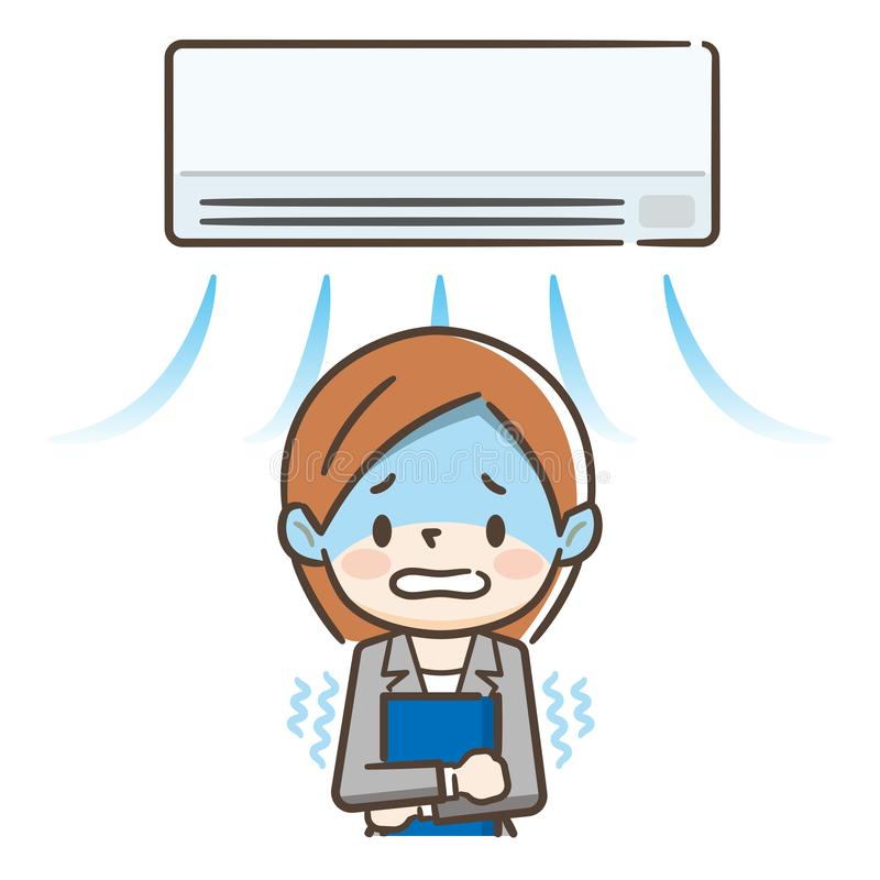 寒冷想要妇女到风的空调 向量例证