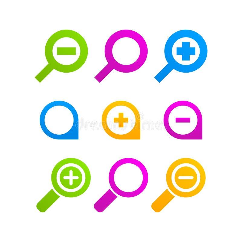 寸镜象集合网标志商标放大器 库存例证