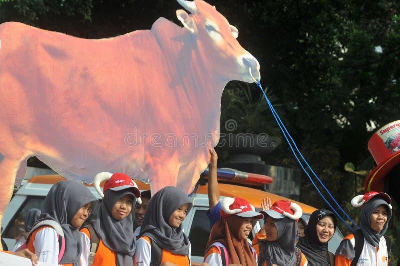 对'牺牲的'一次竞选在Eid AlAdha庆祝前在印度尼西亚 免版税图库摄影