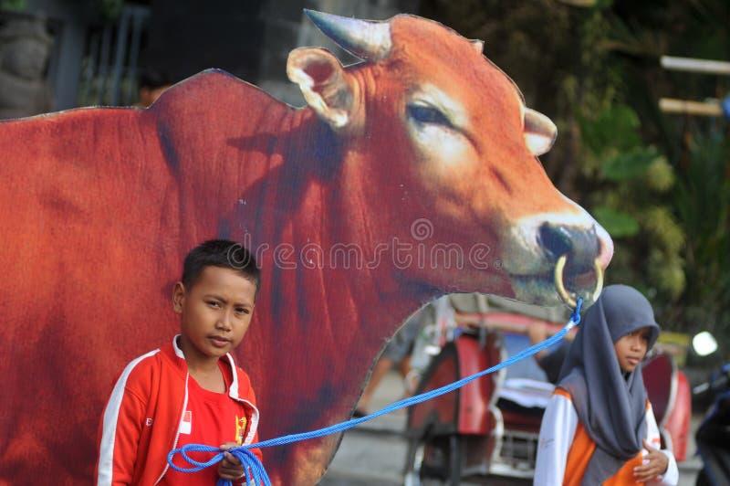 对'牺牲的'一次竞选在Eid AlAdha庆祝前在印度尼西亚 库存图片