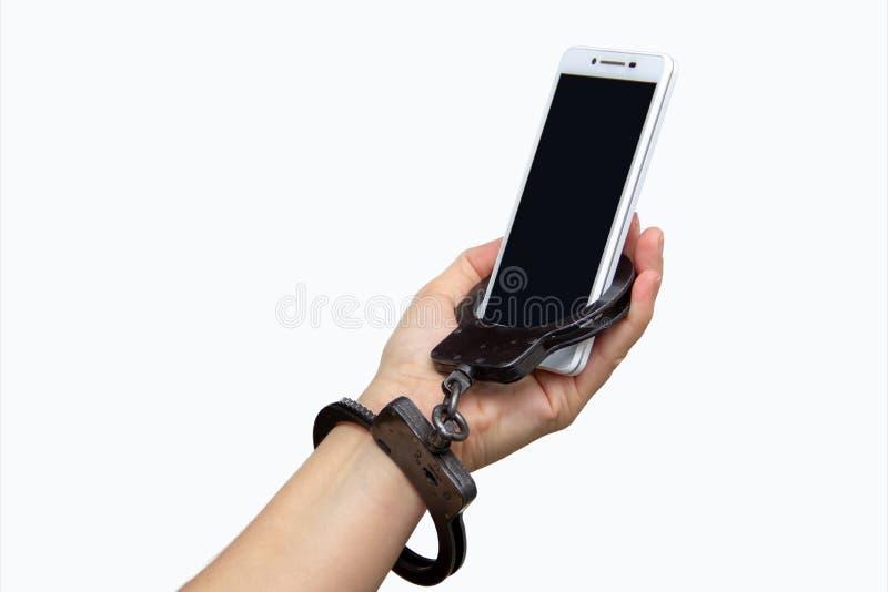 对一个手机的情感女性依赖性 免版税库存照片