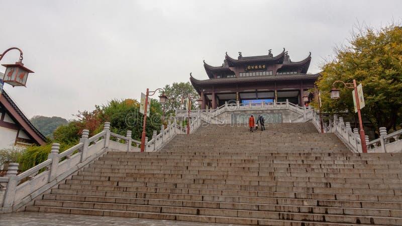 对一个门户的台阶在武汉,中国 免版税库存照片