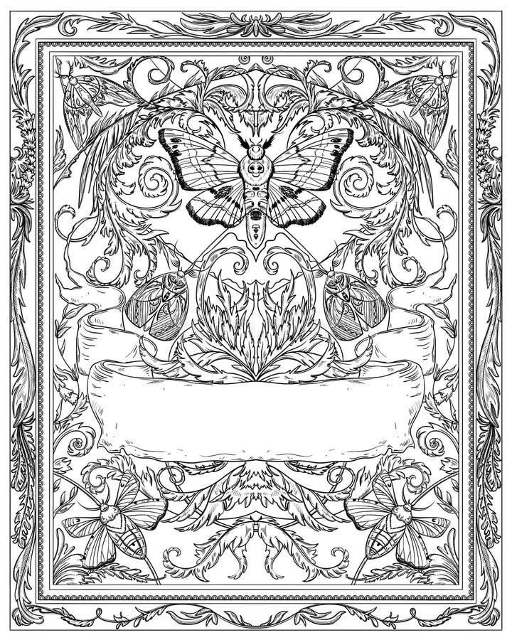对万圣节夜党的邀请 与蝴蝶、飞蛾、丝带和哥特式装饰品的葡萄酒卡片 黑白典雅的小海湾 库存例证