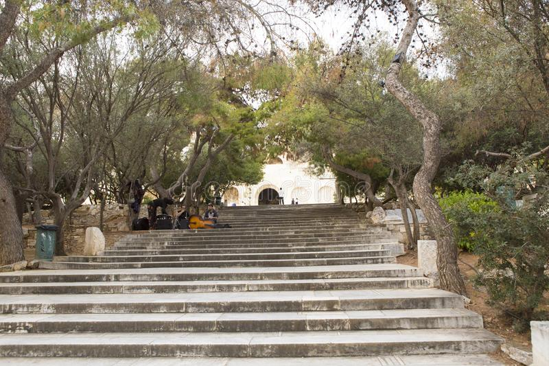 对万神殿的台阶上城的 库存照片