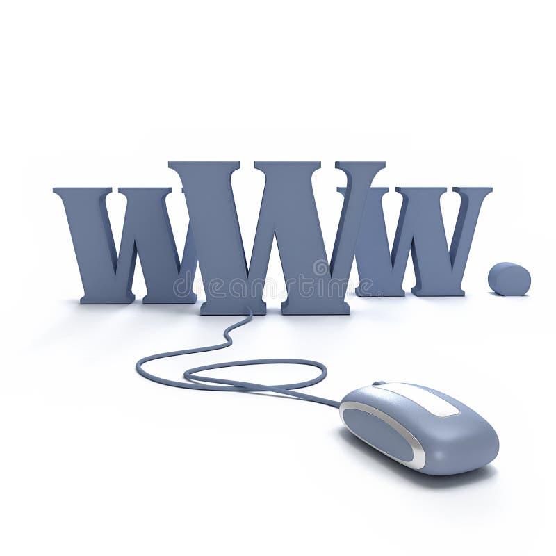 对万维网的被连接的鼠标 库存例证