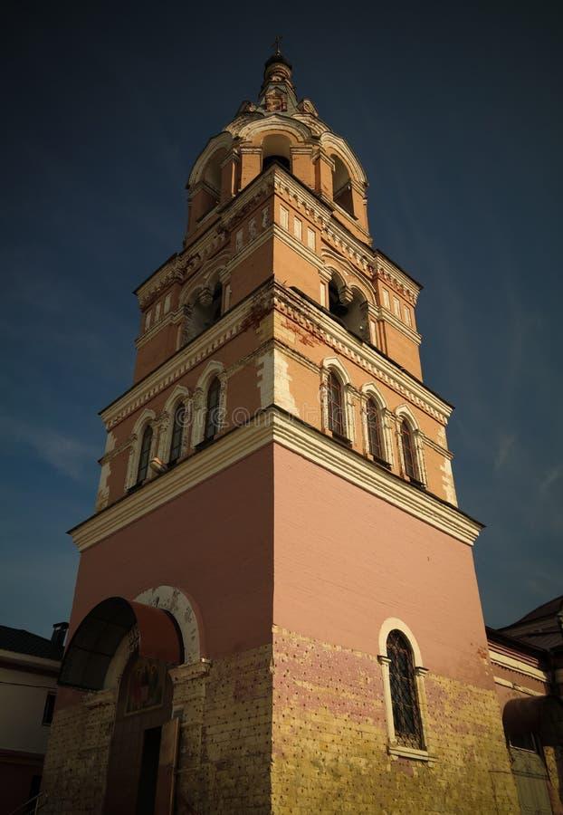 对三位一体寺庙的外视图在oznobishino,莫斯科地区,俄罗斯 免版税库存图片