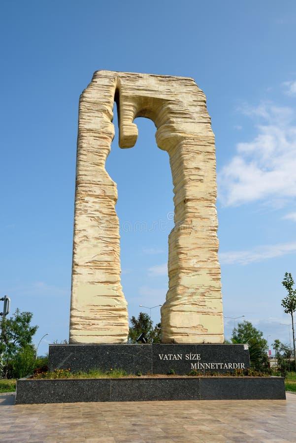 对下落的战士的纪念碑在特拉布松,土耳其 库存图片