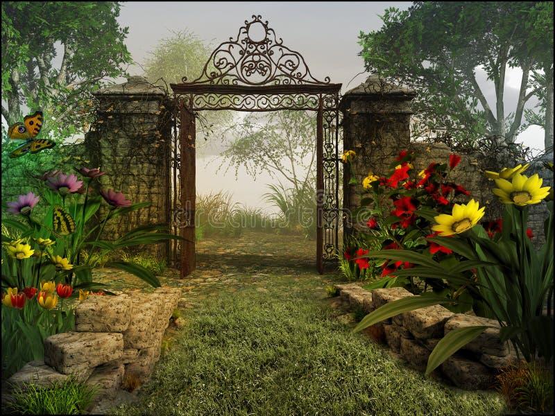 对不可思议的庭院的门 向量例证