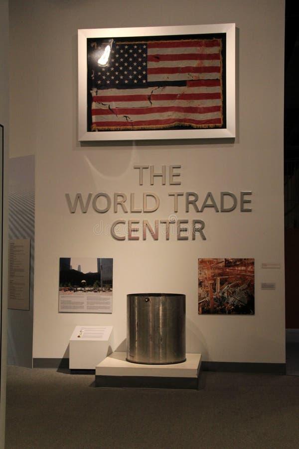 对世界贸易中心展览的入口,状态博物馆,阿尔巴尼,纽约, 2015年 免版税库存照片