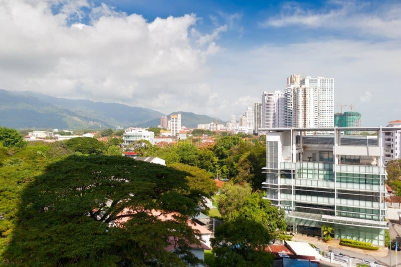 对乔治城市的鸟瞰图,槟榔岛,马来西亚 免版税图库摄影