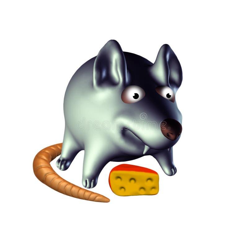 对乳酪3D例证的饥饿的老鼠在白色背景 皇族释放例证