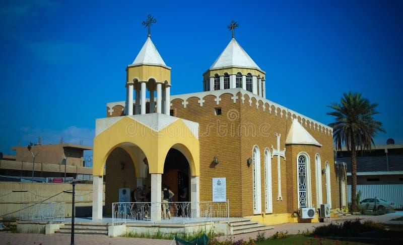 对亚美尼亚宽容福音派教会,巴格达,伊拉克的外视图 库存照片