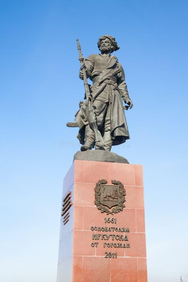 对伊尔库次克的创建者的纪念碑。俄罗斯。 免版税库存照片