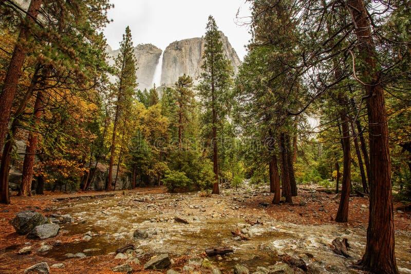 对优胜美地瀑布的壮观的看法在优胜美地国家公园,加利福尼亚,美国 库存图片