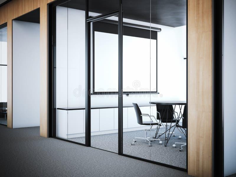 对会议室的门办公室内部的 3d翻译 库存例证