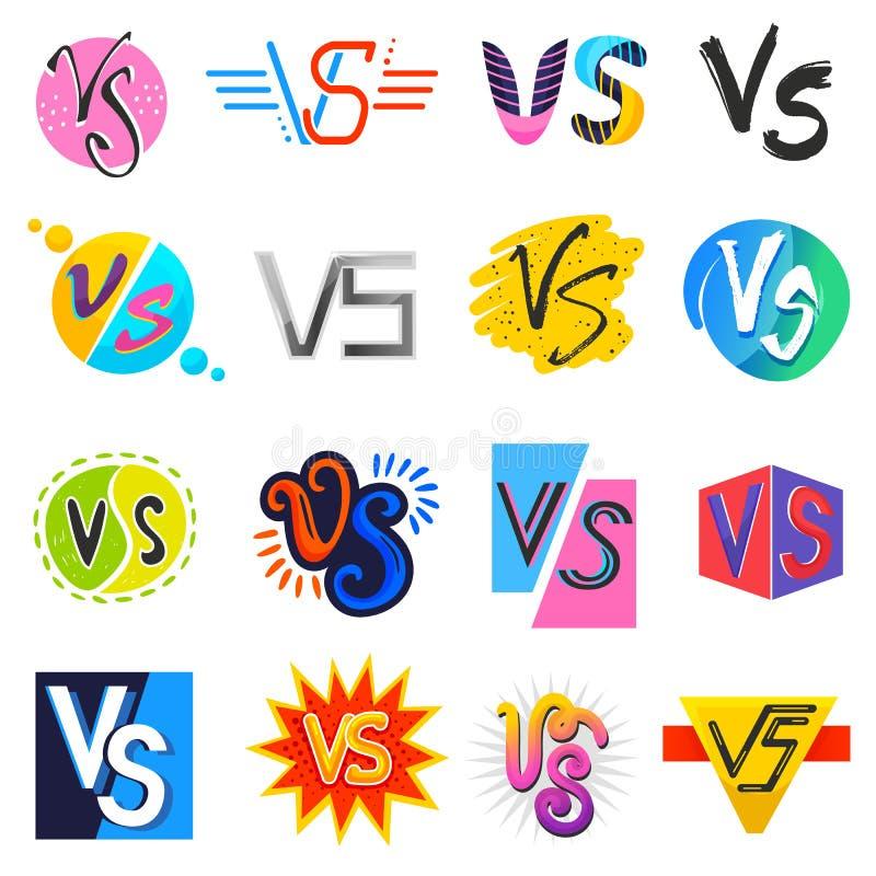 对传染媒介对字母符号v s在爆炸战斗或可笑的样式字体在印刷术例证套对 向量例证