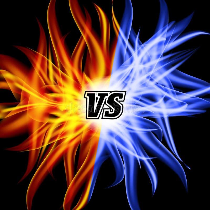 对传染媒介 对信件 火焰战斗背景设计 竞争概念查出的白色 战斗标志 库存例证