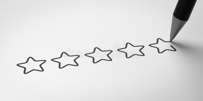 对估计五个的星,满意概念 皇族释放例证