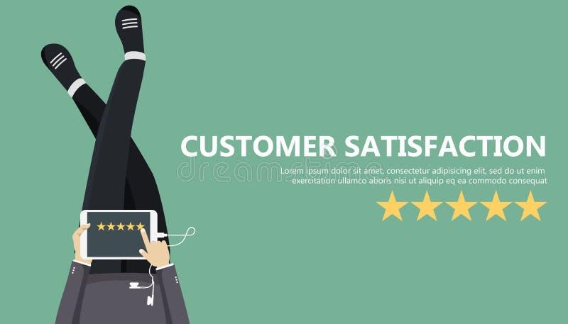 对估计在顾客服务例证 供以人员坐地板和拿着在他的膝部的片剂 网站规定值反馈和revie 库存例证