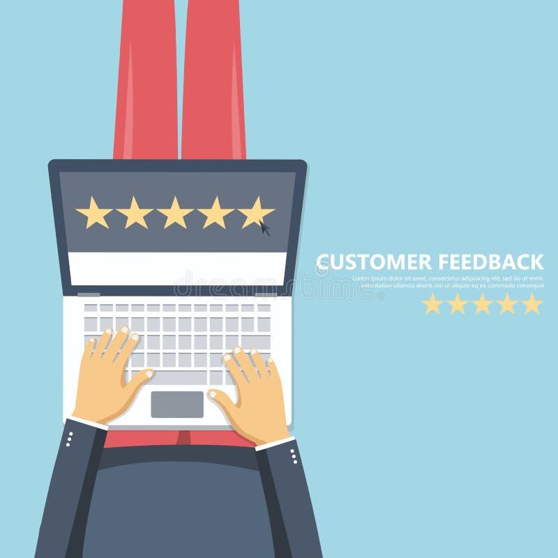 对估计在顾客服务例证 坐地板和拿着在他的膝部的人膝部上面 网站规定值反馈 向量例证