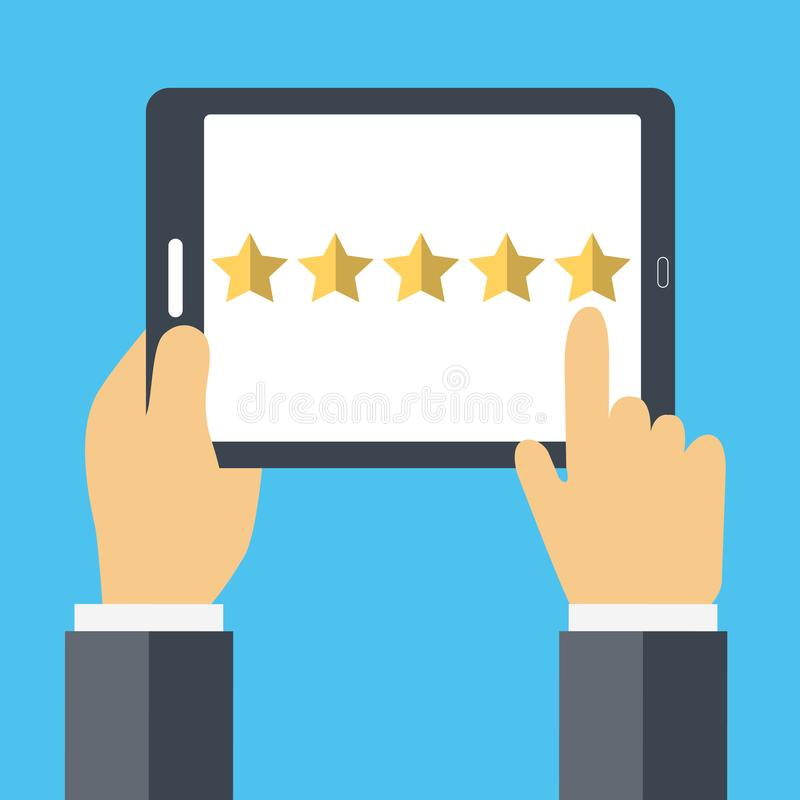 对估计在顾客服务概念 网站规定值反馈和回顾概念 平的传染媒介 向量例证