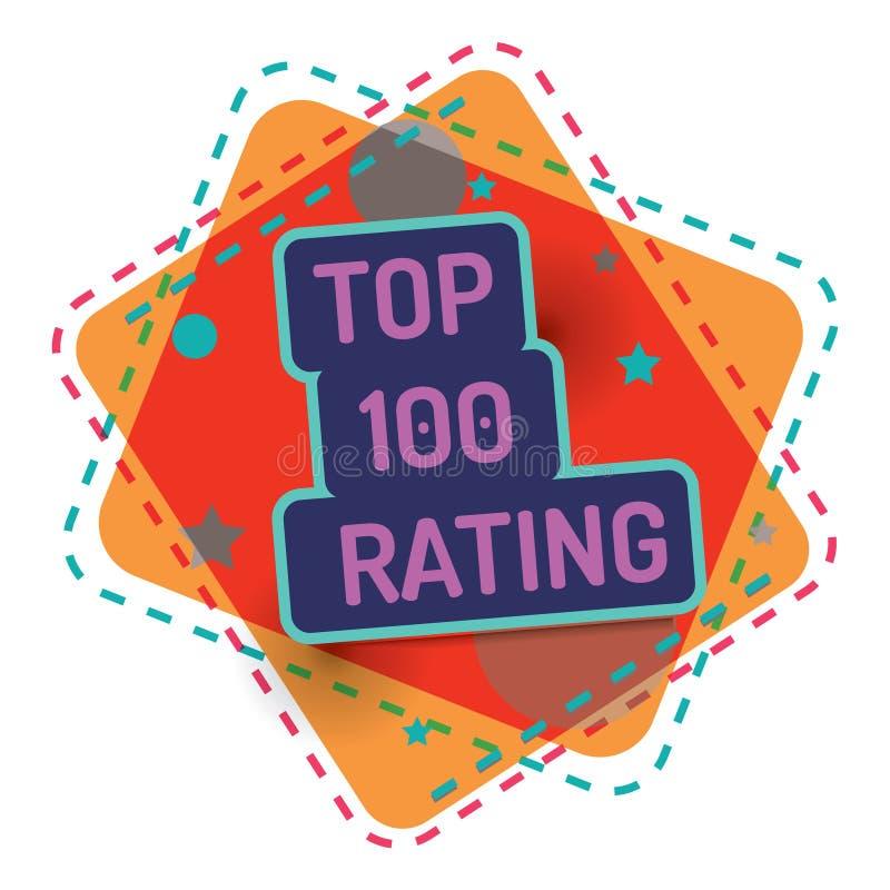 对估计的名列前茅100 传染媒介颜色横幅质量 库存例证