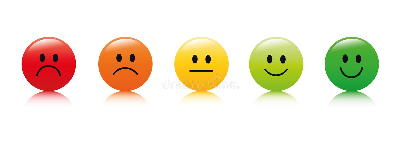 对估计的满意反馈以形式的情感优秀好正常坏可怕 库存例证