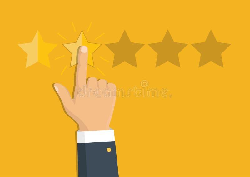 对估计的金黄星 反馈、名誉和质量概念 库存例证