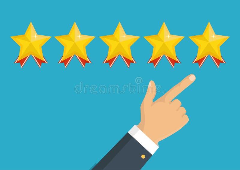 对估计的金黄星 反馈、名誉和质量概念 向量例证